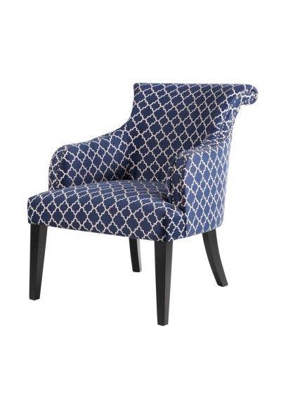 Blue White Quatrefoil Design Rollback Accent Chair Print