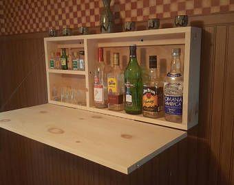 Murphy Bar Unfinsihed Mane Cave Wall Mount Liquor Cabinet Fold