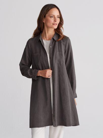 Classic Collar A Line Shirt Dress In Tencel Linen Eileen Fisher Simple Dresses Clothes Dresses