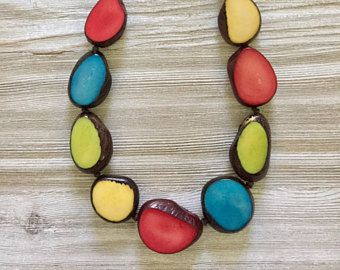 Natural Brown Color Beads Patina Multi Circles Pendant Necklace Earrings Set