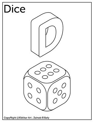 Letter D For Dice Free Coloring Page In 2020 Alphabet Coloring