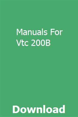Manuals For Vtc 200b Manual Booklet Boat Plans