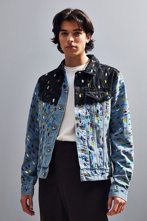 Shop BDG X Riverside Tool & Dye Hand Painted Denim Trucker Jacket at Urban Outfitters today.