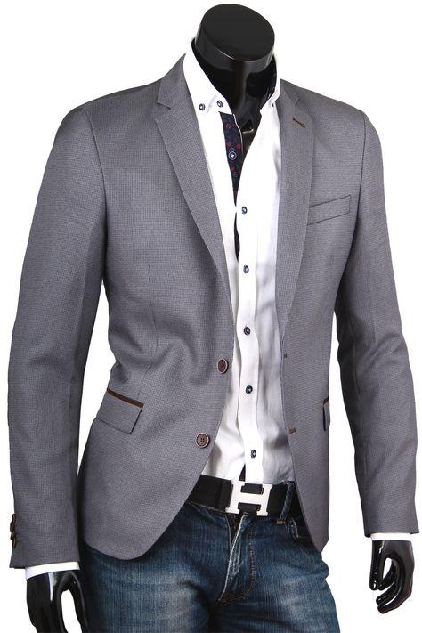 Купить Приталенный мужской пиджак пепельного цвета фото недорого в Москве 6749ed98954