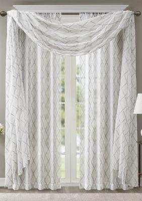 Irina Diamond Sheer Embroidered Window Scarf Window Scarf Bed