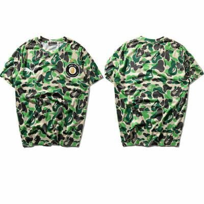Japanese BAPE Green Camouflage Short Sleeve T-shirt A Bathing Ape Camo Tee Tops