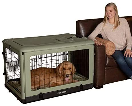 Amazon Com Pet Gear The Other Door 4 Door Steel Crate With Plush Bed Travel Bag For Cats Dogs Pet Supplies Pet Gear Steel Dog Crate Dog Crate