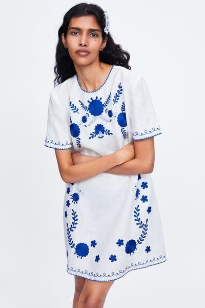 efc94f532c ZARA - Female - Embroidered linen dress - Off-white - Xxl | Products ...