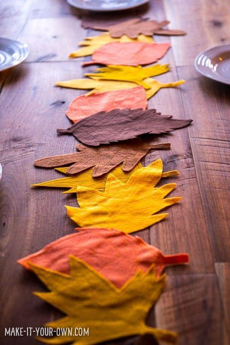 Kid Made Felt Leaf Table Runner Thanksgiving Placemats Felt Crafts Diy Felt Leaves