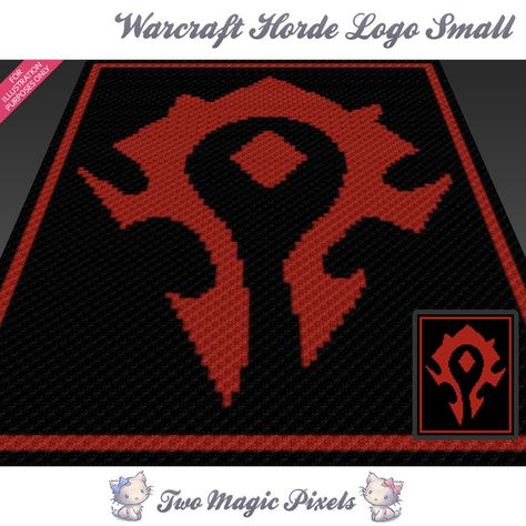 Warcraft Horde Logo Small Crochet Blanket Pattern C2c Cross Stitch