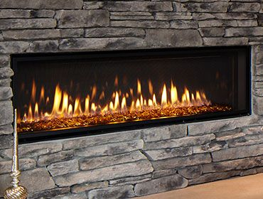 5k Mezzo Series Gas Fireplace 48 Inch Matte Black Surround River Rock Instead Of Glass Or Logs Fireplace Inserts Gas Fireplace Fireplace Heat