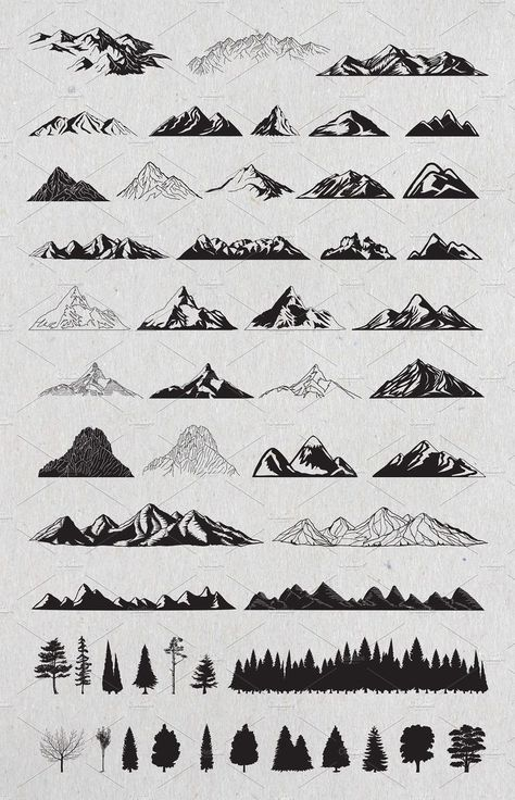 Hand drawn mountains and trees # vector # part # delivered # files . - Hand drawn mountains and trees # vector # part # delivered # files - Drawing Techniques, Drawing Tips, Drawing Drawing, Montain Tattoo, Tattoo Drawings, Art Drawings, Tattoo Sketches, Tattoo Art, Flower Drawings