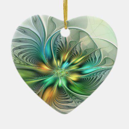 Fractal 2020 Christmas Gift Colorful Fantasy Abstract Flower Fractal Art Ceramic Ornament