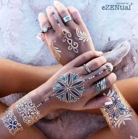 Colorful Cuffs - Festival Ready Flash Tattoos - Gold and Glamorous Ideas - Photos