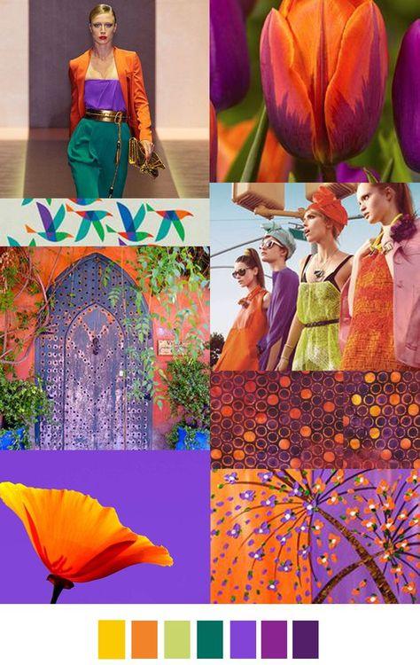 Bold orange purple and green color palette mood board