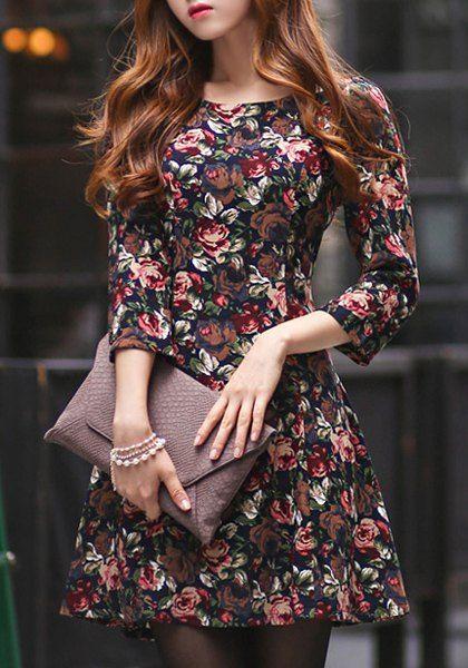 Ladylike Scoop Neck 3/4 Sleeve Floral Print Women's Dress