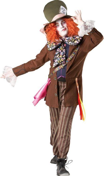 Mad Hatter Costume Adult Mens Alice In Wonderland Halloween Fancy Dress New