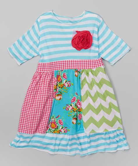 Look at this Turquoise & Hot Pink Rosette Babydoll Dress - Toddler & Girls on #zulily today!