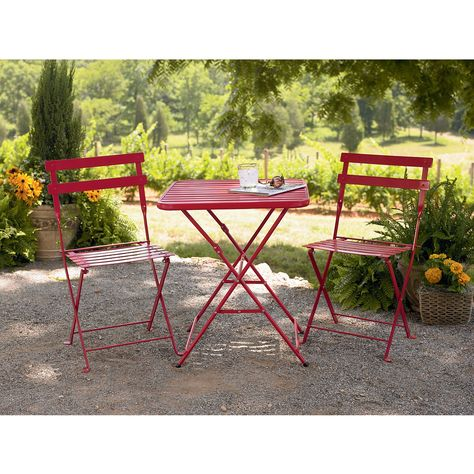 Outstanding Garden Oasis French Bistro Steel Chair Red Outdoor Machost Co Dining Chair Design Ideas Machostcouk