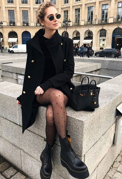 street style outfit all black outfits winter outfits cute black outfits edgy outfits how to wear docs womens fashion