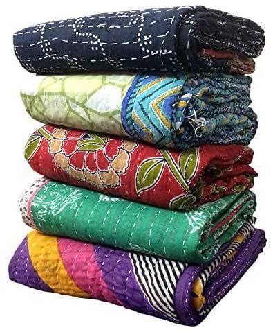 Indian Handmade sari throw Kantha Quilt Bedspread Throw Cotton Blanket Gudari twin patch quilt kantha quilt kantha antique sofa cover
