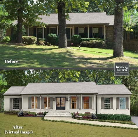 Oct 2019 - We've come up with 18 predictions for 2020 exterior home design. That said, as 2020 is quickly approaching it's important to be aware of what's coming. Ranch Exterior, House Paint Exterior, Exterior Remodel, Exterior House Colors, Exterior Design, White Wash Brick Exterior, Home Styles Exterior, Exterior Homes, Exterior Siding