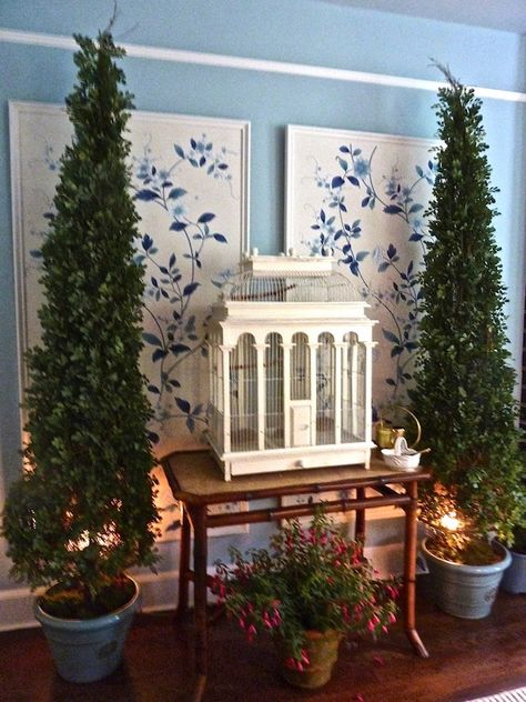 Baminteriors Show House Room With Antique Bird Cage Lights Under Trees Antique Bird Cages Christmas In Connecticut Gracie Wallpaper