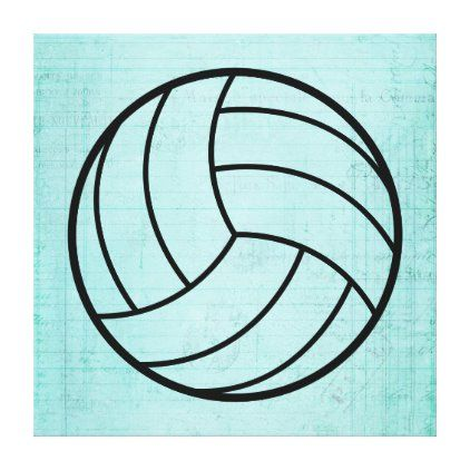 Volleyball Art Vintage Teal Notebook Paper Style Canvas Print Notebook Paper Antique Artwork Canvas Prints