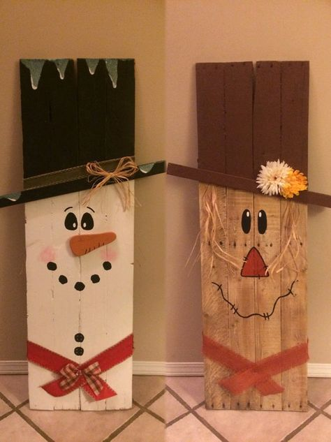 Reversible wooden scarecrow snowman by TheCraftyAppleShop on Etsy                                                                                                                                                                                 More