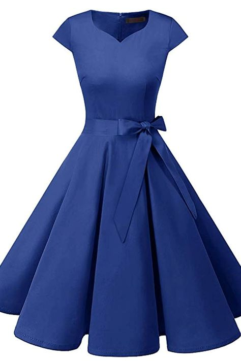 Women's Vintage Tea Dress Prom Swing Cocktail Party Dress with Cap-Sleeves.