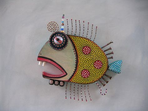 Twisted Bass, Original Found Object Sculpture, Wall Art, Wood Carving, by Fig Jam Studio via Etsy