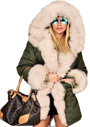 4dd3edc48 New Aofur Women Winter Hoodies Overcoat Faux Fur Long Trench Parkas ...