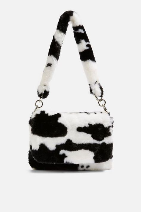 Teddy Faux Fur Cow Shoulder Bag - Shop All Accessories - Bags & Accessories - Topshop Europe Tod Bag, Estilo Indie, Bag Women, Cow Print, Looks Vintage, Cute Bags, Purses And Handbags, Pink Purses, Fabric Handbags