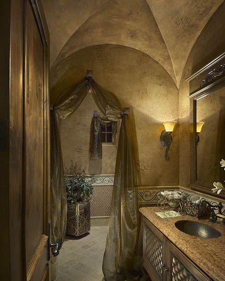 Italian Renaissance powder bath designed by Tracy Rasor and Alana Villanueva,  Dallas Design Group Interiors, and built by Sharif and Munir Custom H ...
