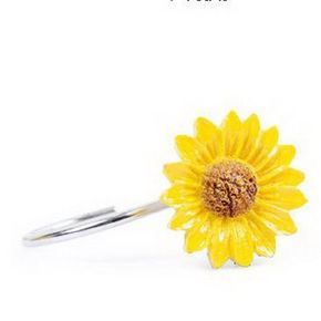 Set Of 12 Stainless Steel Shower Curtain Hooks Sunflower Design