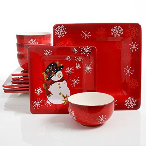 Laurie Gates Snappy Snowman 12 Piece Dinnerware Set Red Https Www Dp B0 Christmas Dinnerware Sets Christmas Dinnerware Ceramic Dinnerware Set