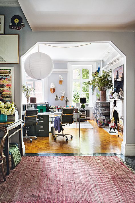I love how every bit of eclectic flair comes together so delightfully in interior designerRodman Primack'sWest Village apartment. Each component in his one bedroom apartment is either chic, witty orworldly. Apatchwork quilt, a Rick Owens bench, fabricsfrom his own textile line, a