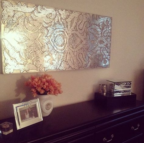 mirrored damask panel dresser in black