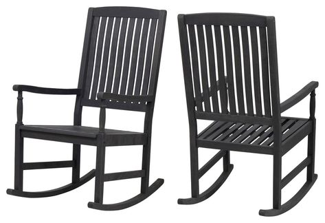 Penny Outdoor Acacia Wood Rocking Chairs Set Of 2 Transitional Outdoor Rocking Chairs By Gdfstudio In 2020 Rocking Chair Wood Rocking Chair Rocking Chair Set