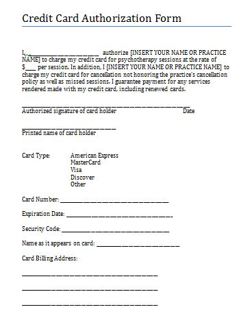 Credit Card authorization and consent form for therapy practice - authorization to release information template