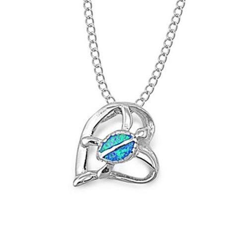 925 Sterling Silver Created Blue Opal Heart Pendant with 18 Box Chain