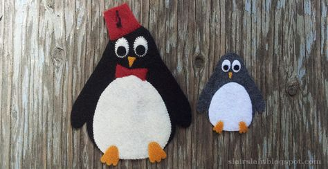 Felt of applique penguin pattern, including optional fez with tassel and bowtie for a Doctor Who penguin!
