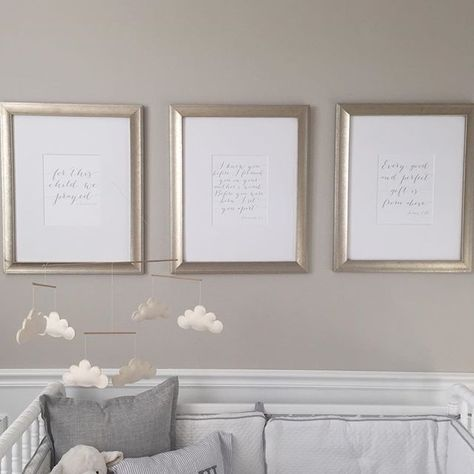 """I received a few questions and emails about the prints we have hanging above Charlie's crib, so I wanted to share them! The three framed verses are: """"For this child we prayed"""" (I Samuel 1:37); """"I knew you before I formed you in your mothers womb, before you were born I set you apart"""" (Jeremiah 1:5); and """"Every good and perfect gift is from above"""" (James 1:17). I went back and forth between different artwork for the frames and kept coming back to these three verses. After struggling and prayi..."""