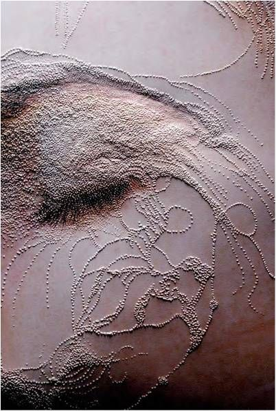 She carries it all like a map on her skin by Peta Clancy. Think this is stitching onto a photograph