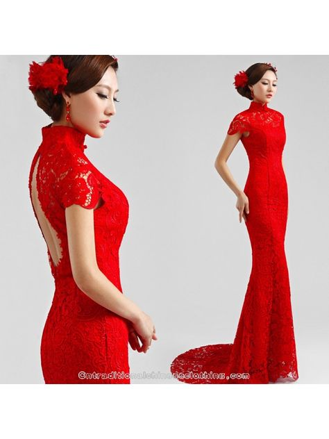 abdfd804e Open back mandarin collar mermaid trailing dress red lace cheongsam Chinese  bridal wedding dress evening gown