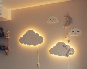 Cloud Night Light Wood Kids Lamp Baby Room Led Lamp Nursery Light