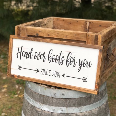 Excited to share this item from my shop: Head Over Boots for You Rustic Wood Sign - Country Music sign - Country Wedding Sign - Cowboy Wedding Sign Country Music, Country Signs, Rustic Country Decor, Rustic Country Weddings, Rustic Outdoor, Rustic Barn, Country Life, Country Wedding Boots, Country Wedding Dresses