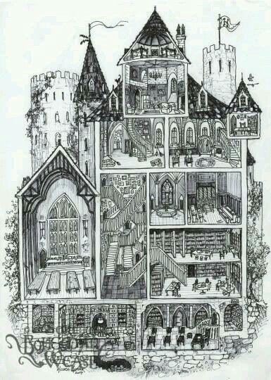 Harry Potter HOGWARTS CASTLE LIMITED DOUBLE SKETCH Card PRINT 1 of 15 ART