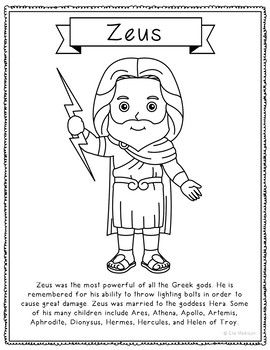 12 Greek Mythology Coloring Page Crafts Or Posters With Short Biographies Greek Mythology Gods Greek Gods Greek Mythology