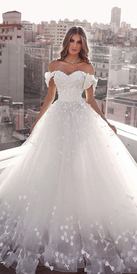 27 Chic Bridal Dresses: Styles & Silhouettes ❤ bridal dresses ball gown sweetheart neckline with bow and floral saidmhamadofficial #weddingforward #wedding #bride